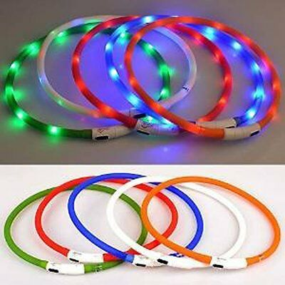 Pet Dog Collar Rechargeable USB LED Flashing Night Safe Waterproof Puppy Collar