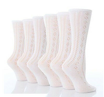 6 Pairs Girls White Pelerine 3/4 High Length Cotton Summer School Uniform Socks
