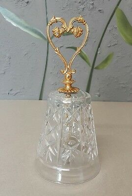 Decorative Lead Crystal BELL and Metal 24K Gold Handle ITALY - H: 16.5 cm