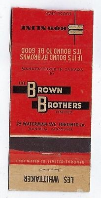 Vintage Brown Brothers   Brownline Office Stationary Toronto  Matchcover