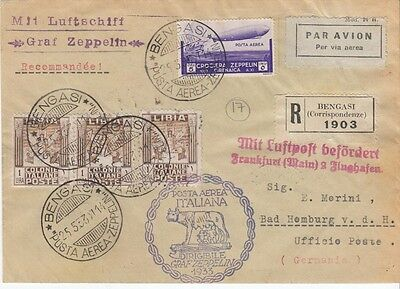 Zeppelin cover 1933 Lybia to Germany via Barcelona Rome