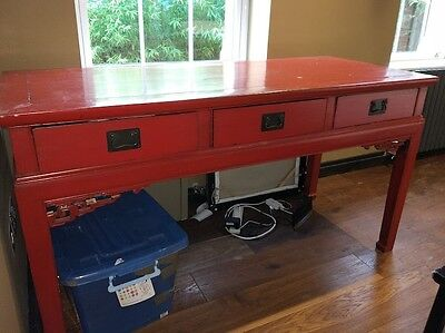 Large Antique Chinese Red Laquer Desk