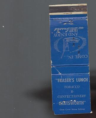 Vintage  Frasers Lunch  Tobacco & Confectionery  Chatsworth   Ont . Matchcover