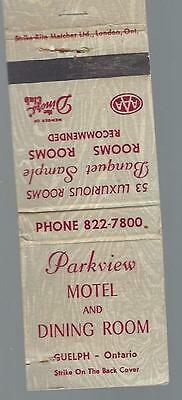 Vintage Parkview Motel & Dining Room Guelph Ont. Matchcover 53 Luxurious Rooms