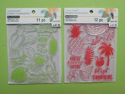 Recollections TROPICAL LIFE Clear Stamps Lot NEW RELEASE