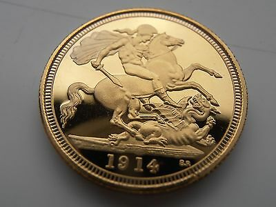 1914 King George V 22ct Full Sovereign Gold Plated Coin UK Collectors Item