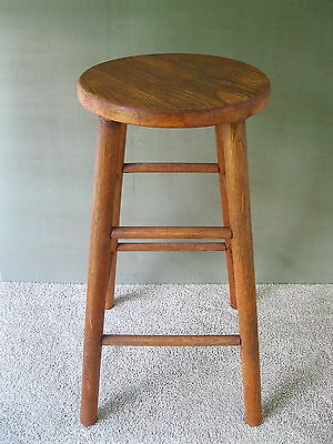 "Vintage Stool Primitive Oak & Hickory Wood, 29"" Tall, Round Seat, 4-Leg Stand"