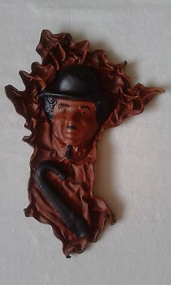Vintage artisian  leather mask Charlie Chaplin  wall hanging hand made unique