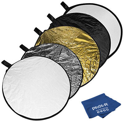 "Phot-R 43"" PRO 5in1 Photo Studio Collapsible Circular Reflector Microfibre Cloth"