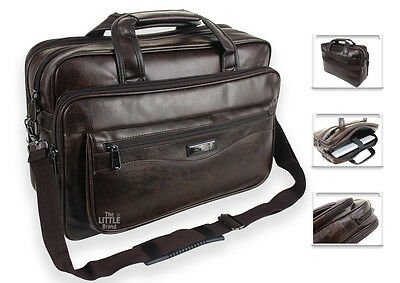 Mens Brown Laptop Bag Briefcase Messenger Work Office Shoulder Bag Faux Leather