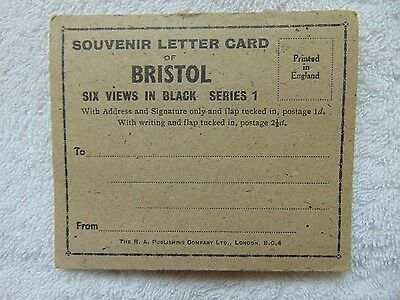Small Vintage Souvenir Letter Card Of Bristol - 6 Views In Black - Unused