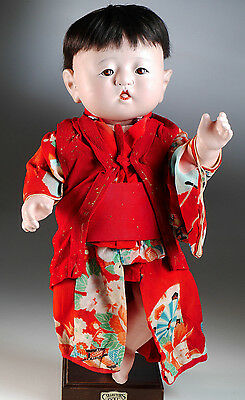 1920-30 Japanese Ichimatsu composition baby boy doll 16""