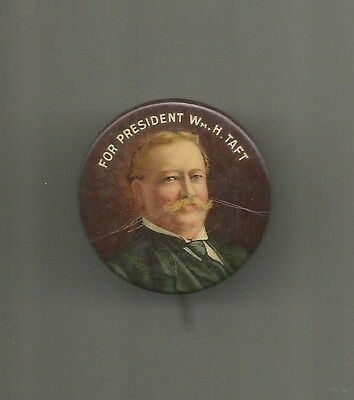 1912 William H Taft for President Republican Celluloid Button Pin