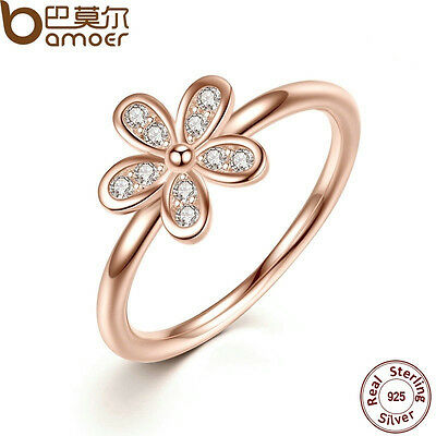 925 Silver Daisy Ring Flower Rose Gold White Topaz Wedding Engagement Size  6