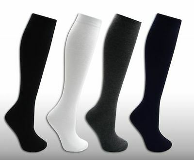 3 Pairs Girls Ladies Knee High Length School Uniform Office Wears Cotton Socks