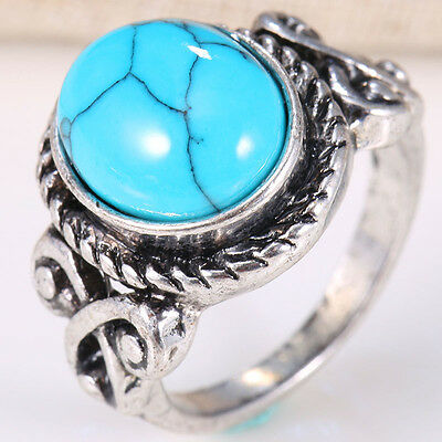 Blue Round Natural Turquoise 925 Silver Women Wedding Vintage Ring Size 10