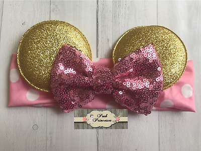 Minnie Mouse Ears Baby Headband, Pink and Gold Sequin Bow Headband, Pink & Gold