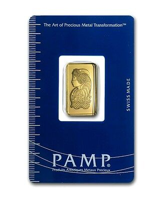 2.5  Gram - Pamp Suisse Gold Bar - Lady Fortuna - In Sealed Assay Card