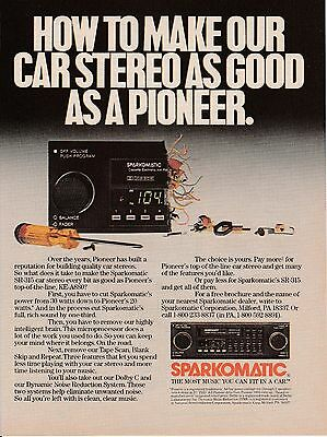 Vintage 1986 Pioneer Sparkomatic car stereo print ad    Great to frame!