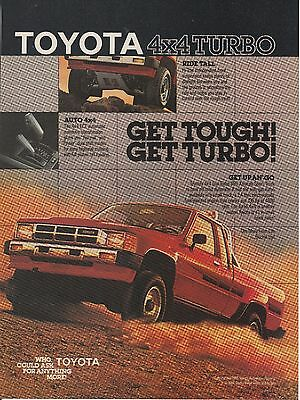Vintage 1986 Toyota 4X4 Turbo Truck print ad    Great to frame!