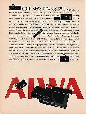 Vintage 1986 Aiwa AFM 8mm camera recorder print ad    Great to frame!