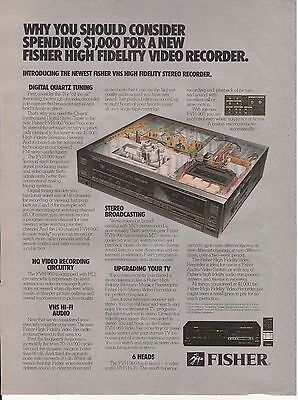 Vintage 1986 Fisher High Fidelity Video Recorder print ad   Great to frame!