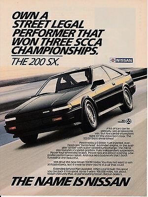 Vintage 1986 Nissan 200 SX car auto print ad    Great to frame!