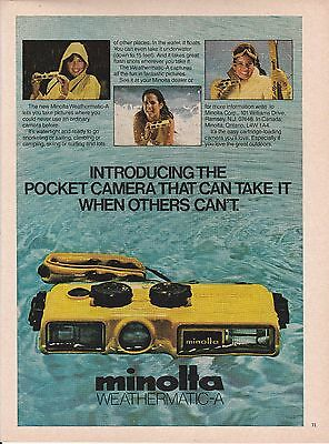 MINT 1980 Minolta Weathermatic-A underwater camera  print ad    Great to frame!