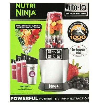 Nutri Ninja with Auto-iQ 1000W Extraction Blender with 4 Cups & Lids - BL480
