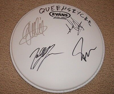 """Queensryche - AUTOGRAPHED 10"""" DRUMHEAD *BAND SIGNED*"""