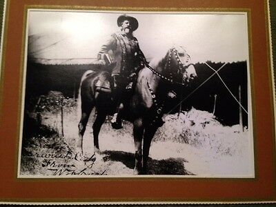 Photograph Buffalo Bill on Horseback Signed  Measures 8X10 30-yr-old reprint