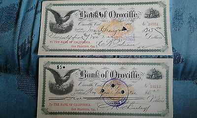 Vintage Bank of Oroville CA Check lot x2 Chinese Signed 1900 California