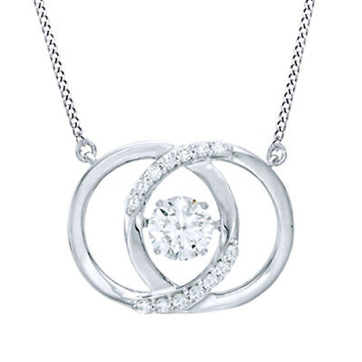 White Sapphire Sterling Silver Interlocking Circles Necklace With Chain Necklace