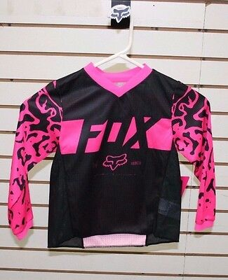 Closeout!!! Fox Kids 180 Black/Pink/Cheetah Print Motocross/Off-Road/ATV Jersey
