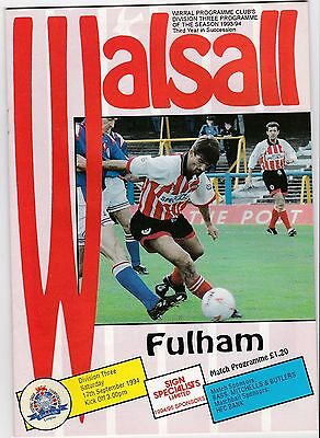 Walsall  V Fulham 3Rd Division 17/9/94