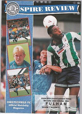 Chesterfield  V Fulham 3Rd Division 22/10/94