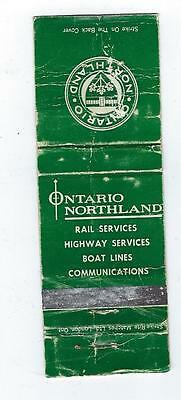 Vintage  Ontario Northland  Matchcover With Map Inside Cover