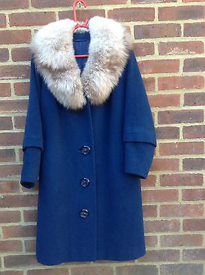 Vintage 1950s Blue Wool Coat With Real Fox Fur Collar Huge Buttons Harella M 12