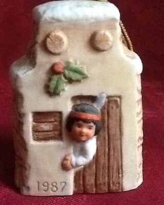 Gregory Perillo Sagebrush Kids 1987 Christmas Bell Ornament Adobe House & Indian