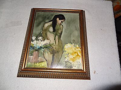 """Painting of Woman By Hewelyn 8""""x 10' oil on board framed"""
