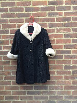 Vintage Astrakhan Persian Lamb Fur Swing Coat Real Mink Fur Collar And Cuff Rare