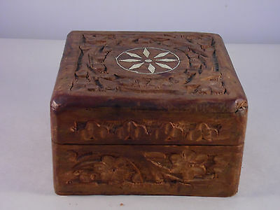 Vintage Wood Wooden Box Carved with Inlay Hinged Lid