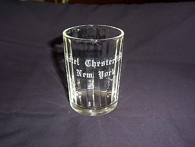 Hotel Chesterfield New York Glass Tumbler, Clear Ribbed, 1949 Note