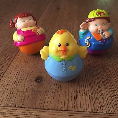 Bundle of three Hasbro weebles collectable toys 2000s