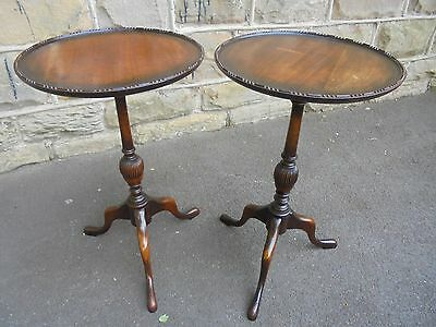 Matching Pair Antique Edwardian Mahogany Wine Tables