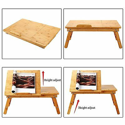 Laptop Desk Table Adjustable Bamboo Foldable Breakfast Serving USA bed table
