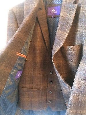 Next 100% Wool Blazer & Waistcoat. 38s, Tailored Fit, Brown Check