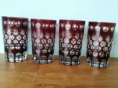 Vintage Ruby Cut to Clear Glass Tumblers x 4