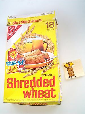 Original 1981 Shredded Wheat Nabisco Cereal Box Free Iron on Transfer inside