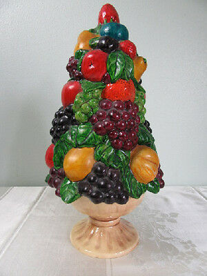 Vintage Holland Mold Ceramic Fruit Topiary Tree Centerpiece Grapes Apples Pears